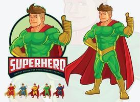 design de mascote de super-herói para negócios vetor