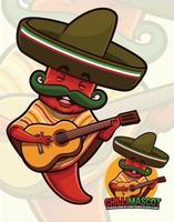 mascote da pimenta malagueta usando roupa mexicana vetor