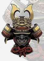 capacete de samurai com acessórios de rosto de dragão vetor