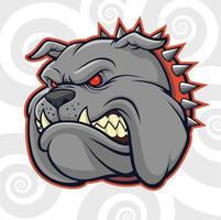 cabeça de bulldog furiosa com espinhos vetor