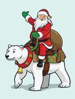 Papai Noel montando urso polar vetor