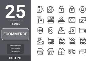 pacote de ícones de comércio eletrônico para o design do seu site, logotipo, aplicativo, interface do usuário. design de contorno de ícone de comércio eletrônico