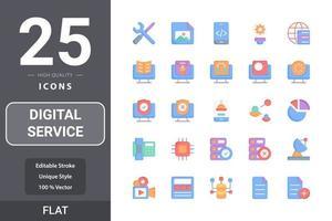 pacote de ícones de serviço digital para o design do seu site, logotipo, aplicativo, interface do usuário vetor