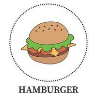 hambúrguer grande abstrato em fundo branco - vetor