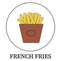 batatas fritas abstratas em fundo branco - vetor