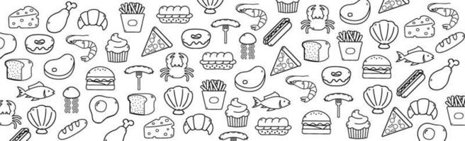 fundo branco abstrato com elementos de alimentos úteis - vetor