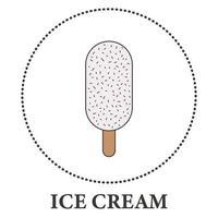 sorvete realista no palito de picolé no fundo branco - vetor
