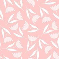 delicado padrão sem emenda de flores em um fundo rosa em um estilo simples vetor