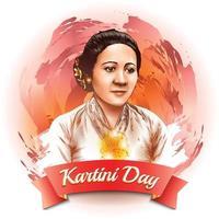 celebração do conceito de retrato do dia de kartini vetor