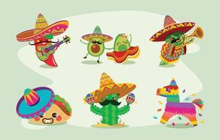 conceito de personagens engraçados mexicanos cinco de mayo vetor