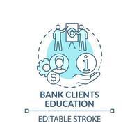 ícone de conceito de educação de clientes de banco
