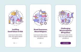 valor da religião na tela da página do aplicativo móvel com conceitos