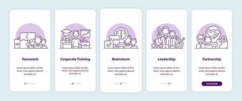 páginas de tela de aplicativos de integração de soluções de negócios vetor
