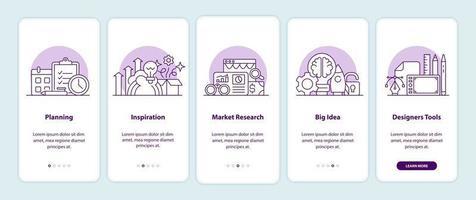 páginas de tela do aplicativo de integração de criatividade vetor