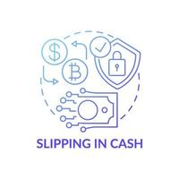 escorregando no ícone do conceito de dinheiro