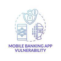 ícone do conceito de vulnerabilidade do aplicativo de banco móvel vetor
