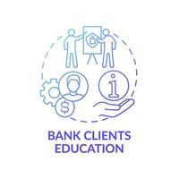 ícone de conceito de educação de clientes de banco vetor