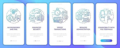 benefícios de pagamento biométrico integrando tela de página de aplicativo móvel com conceitos