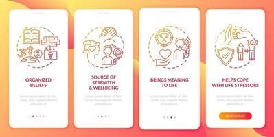 tela vermelha da página do aplicativo móvel de integração com o valor da fé religiosa