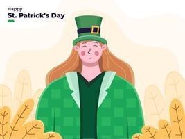 Ilustração do dia de São Patrício com mulher vestindo traje de São Patrício com cor verde. feliz celebração do dia de São Patrício. adequado para cartão de felicitações, banner, convite, cartaz, web. vetor