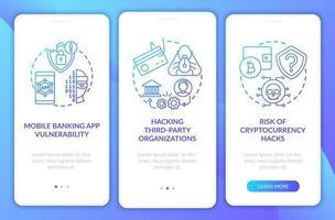 Motivos de violação de segurança bancária integração tela da página do aplicativo móvel com conceitos