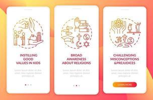 valor da religião vermelho na tela da página do aplicativo móvel com conceitos