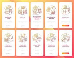 tela vermelha da página do aplicativo móvel de integração das religiões mundiais com o conjunto de conceitos
