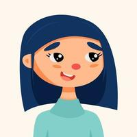 retrato engraçado de uma menina branca vetor