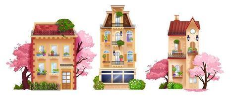 vetor coleção isolada de fachada de casa de cidade velha, edifícios vintage, chalés retrô, árvores de primavera. conjunto de arquitetura tradicional suburbana europeia, janelas, vitrine de loja. vista frontal da fachada da casa
