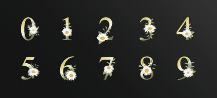 decoração elegante e bonita numérica para casamento com flor
