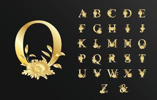 Alfabeto de ouro de luxo bonito para casamento com flor