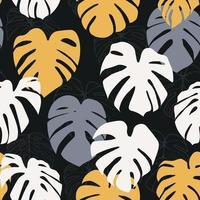 monstera deliciosa folha padrão sem emenda. perfeito para têxteis, tecidos, fundo, impressão vetor