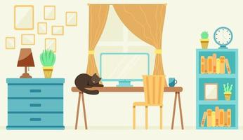 escritório aconchegante com um gato na mesa vetor