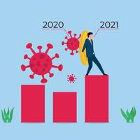 ilustração de conceito de vetor plano de negócios. empresário tem moeda como escudo para impedir o vírus.