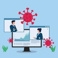 ilustração de conceito de vetor plano de negócios. mulher de negócios apresenta o infográfico na teleconferência.