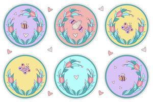 conjunto decorativo de insetos bonitos. borboleta, abelha e pássaro em um fundo floral colorido redondo com um buquê de tulipas e corações. ilustração vetorial. para cartões postais, decoração, impressão, decoração