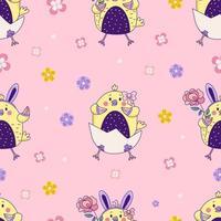 padrão sem emenda com animais fofos. galinhas da Páscoa - menino e menina com orelhas de coelho e uma flor sentar-se em um ovo em um fundo rosa floral. vetor. para design, decoração, impressão, embalagem e papel de parede