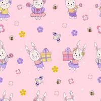 padrões sem emenda com animais fofos. coelhinhos da Páscoa - menino e menina com presentes e ovos de Páscoa em um fundo rosa com flores e pássaros. vetor. para design, decoração, impressão, embalagem e papel de parede