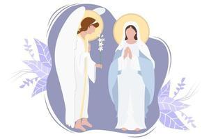 anunciação à bem-aventurada virgem maria. virgem maria, mãe de jesus cristo em maforia azul e arcanjo gabriel com lírio em um fundo decorativo. feriado religioso católico e ortodoxo. vetor
