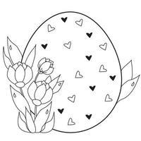 cartão de páscoa. grande ovo de Páscoa com corações e um buquê de flores e folhas da primavera. vetor. linha preta, contorno. ilustração para design, decoração, impressão, cartões postais para a feliz páscoa