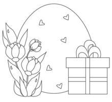 cartão de páscoa. grande ovo de páscoa com um buquê de flores e folhas e uma caixa com um presente. vetor. linha preta, contorno. ilustração para design, decoração, impressão, cartões postais para a feliz páscoa