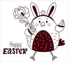 cartão decorativo de feliz Páscoa. frango bonito da Páscoa com orelhas de coelho na cabeça e uma flor de rosa. desenho vetorial, linha. para design, decoração, impressão, cartões de festas e banners