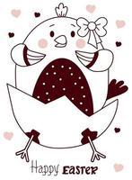 cartão de Páscoa com um lindo frango chocado - uma menina com um arco. ilustração vetorial, linha. desenho bonito para cartões - feliz Páscoa, design, decoração, impressão, decoração e banners