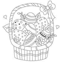 cesta de Páscoa com ovos decorativos, flores e folhas, coração e arco. desenho vetorial. linha preta, contorno. decoração para design e cartões feliz páscoa