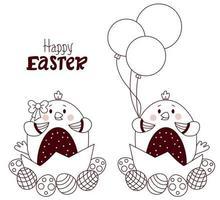 cartão de feliz Páscoa. casal de lindos pintinhos de Páscoa - menino e menina com ovos de Páscoa e balões. vetor. Páscoa esboçada. linha, esboço. para design, decoração, impressão, cartões de férias, banners