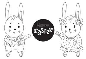 coelhinho da Páscoa. lindo par de coelhos - uma menina e um menino com um ovo de Páscoa nas patas. vetor. linha preta, contorno. desenho decorativo. animal fofo para design, decoração, impressão, cartões para feliz páscoa