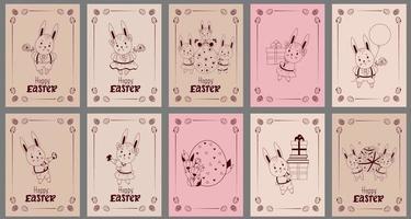 conjunto de cartões postais feliz Páscoa - com lindos coelhinhos da Páscoa. lebre, um menino de shorts, uma menina com uma flor, uma família com uma criança, um ovo de páscoa, presentes e balões. ilustração vetorial, esboço