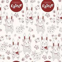 feliz Páscoa padrão sem emenda. padrão de Páscoa de coelhos-meninos e meninas-lebres, ovos decorativos, pássaros e borboletas sobre um fundo claro. ilustração vetorial. linha vermelha, contorno