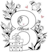 8 de março. cartão de férias para o dia internacional da mulher. o número oito, um buquê de flores, corações e folhas, uma caixa com um presente e um pássaro. vetor. padrão decorativo, linha preta, contorno