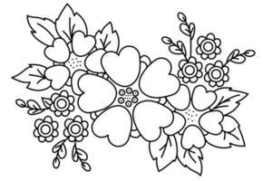 estampa floral. arranjo de flores decorativas, um buquê de plantas e flores, galhos e folhas. desenho vetorial. linha preta, contorno. fundo branco. para impressão, decoração, design e cartões postais